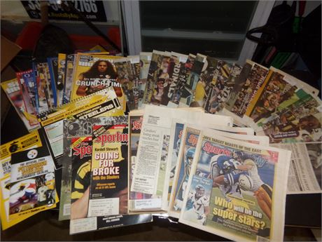 Large Collection of Steeler's Magazines and 4 Pennants