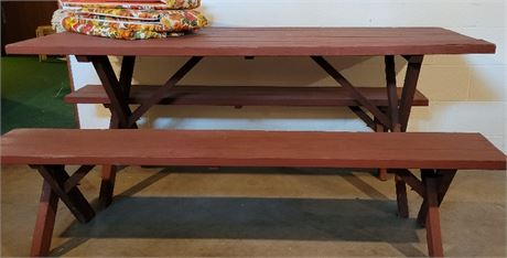 Picnic Table with 2 Benches, Cover & Seat Pad